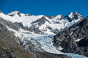 Dart Glacier, seen on a spectacular 20km round trip day hike from Dart Hut to Cascade Saddle, Rees-Dart Track, in Mount Aspiring National Park, Otago region, South Island of New Zealand.