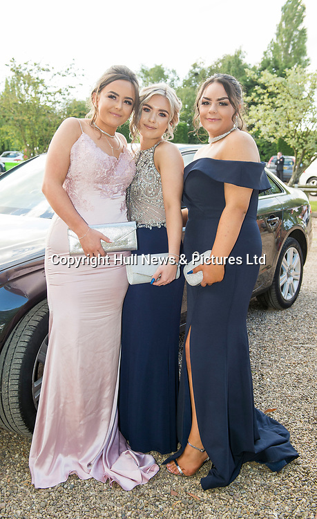 20 June 2019: Cleethorpes Academy Year 11 Prom at Brackenborough Hotel near Louth.<br /> (l-r) Casey Turnbull, Caitlin Evison and Tyler Whitcombe. <br /> Picture: Sean Spencer/Hull News & Pictures Ltd<br /> 01482 210267/07976 433960<br /> www.hullnews.co.uk         sean@hullnews.co.uk