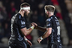 Harrison Keddie of Dragons celebrates scoring his sides first try with team-mate <br /> <br /> Photographer Craig Thomas/Replay Images<br /> <br /> Guinness PRO14 Round 7 - Dragons v Zebre - Saturday 30th November 2019 - Rodney Parade - Newport<br /> <br /> World Copyright © Replay Images . All rights reserved. info@replayimages.co.uk - http://replayimages.co.uk