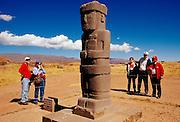 BOLIVIA, TIAHUANACO, AYMARA Kalasasaya platform stone figure