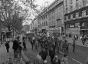May Day Demonstration March.       (N72).<br /> 1981.<br /> 01.05.1981.<br /> 05.01.1981.<br /> 1st May 1981.<br /> As part of International Workers Day the Irish Congress of Trades Unions organised a protest march in Dublin. The march to Dail Éireann was to highlight the inequities in wages,taxes etc carried by the working classes in Ireland. The May Day protest in Dublin was mirrored across Europe.<br /> Picture shows that many unions across the industries took part in the May Day march.