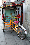 A street-food vendor's stand is closed up for the night and parked on a side street.