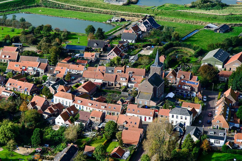 Nederland, Zeeland, Zuid-Beveland, 19-10-2014; Ellewoutsdijk, gelegen aan de Westerschelde. Zak van Zuid-Beveland.<br /> Ellewoutsdijk village situated on the Westerschelde (Western Scheldt), Southwest Holland.<br /> luchtfoto (toeslag op standard tarieven);<br /> aerial photo (additional fee required);<br /> copyright foto/photo Siebe Swart