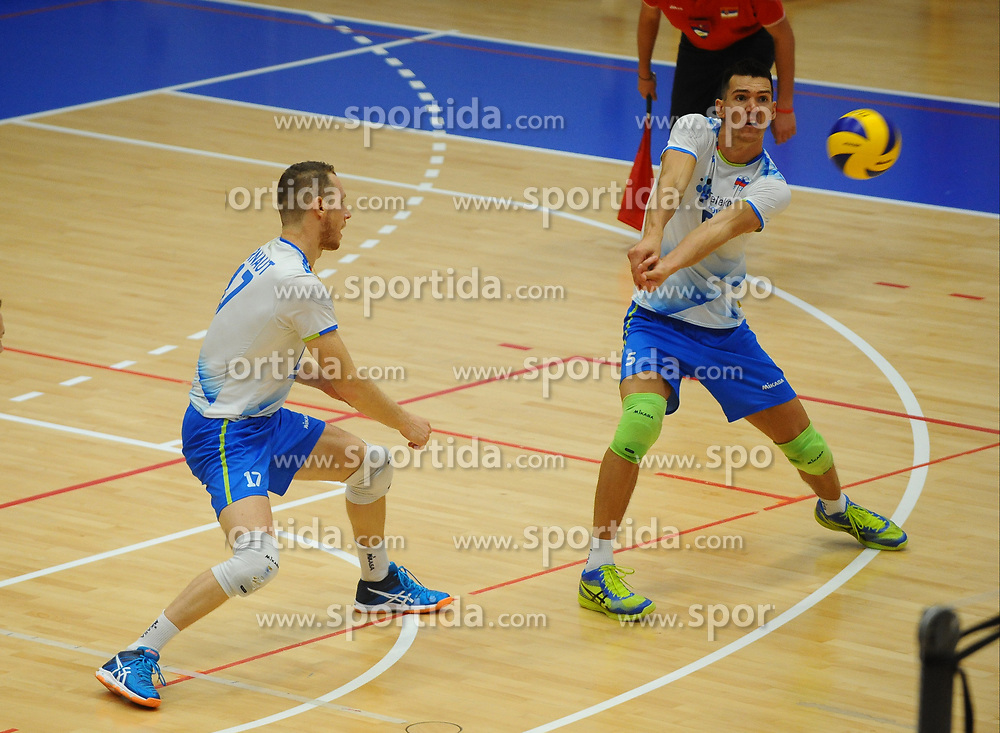 Tine Urnaut of Slovenia and Alen Sket of Slovenia during friendly volleyball match between National teams of Serbia and Slovenia, on August 18, 2017, in Belgrade, Serbia. Photo by Nebojsa Parausic / MN press / Sportida
