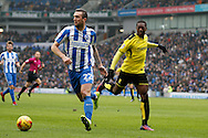 Brighton & Hove Albion defender Shane Duffy (22) and Burton Albion striker Marvin Sordell (9) during the EFL Sky Bet Championship match between Brighton and Hove Albion and Burton Albion at the American Express Community Stadium, Brighton and Hove, England on 11 February 2017. Photo by Richard Holmes.