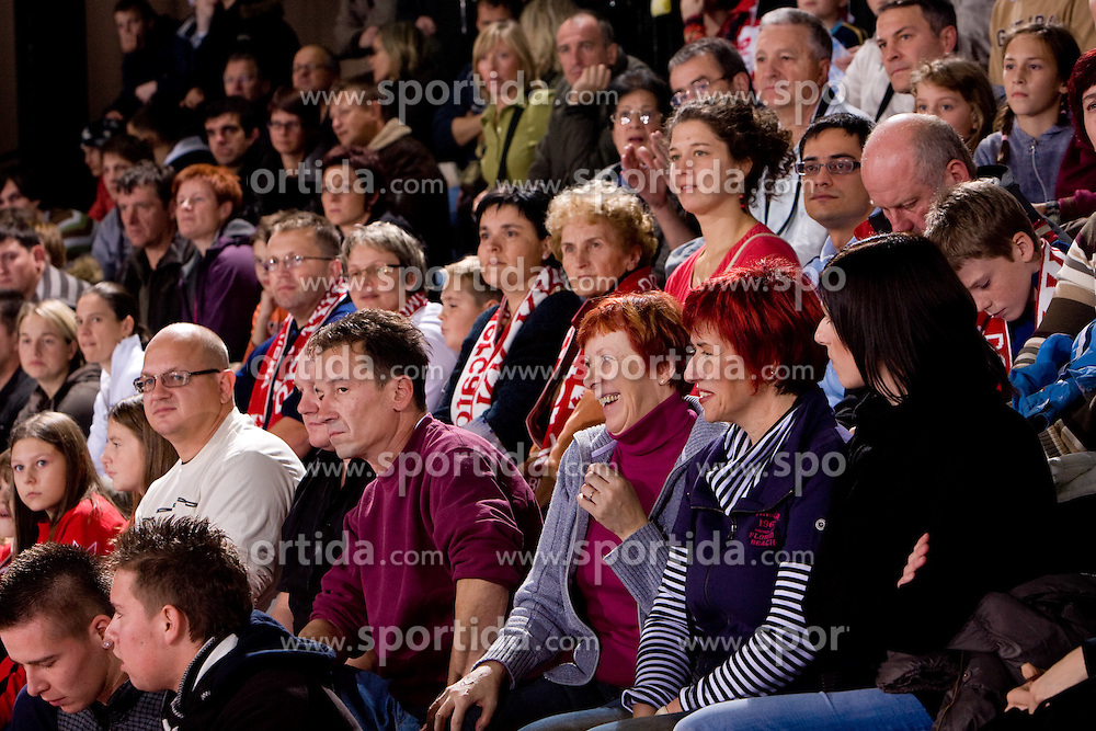 Spectators at handball match of Round 3 of Champions League between RK Krim Mercator and Hypo Niederosterreich, on November 8, 2009, in Arena Kodeljevo, Ljubljana, Slovenia.  Krim won 35:24. (Photo by Vid Ponikvar / Sportida)