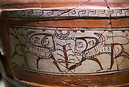Close up of a Phrygian terra cotta large jug with handles, decorated with animals, from Gordion. Phrygian Collection, 6th century BC - Museum of Anatolian Civilisations Ankara. Turkey. .<br /> <br /> If you prefer you can also buy from our ALAMY PHOTO LIBRARY  Collection visit : https://www.alamy.com/portfolio/paul-williams-funkystock/phrygian-antiquities.html  - Type into the LOWER SEARCH WITHIN GALLERY box to refine search by adding background colour, place, museum etc<br /> <br /> Visit our CLASSICAL WORLD PHOTO COLLECTIONS for more photos to download or buy as wall art prints https://funkystock.photoshelter.com/gallery-collection/Classical-Era-Historic-Sites-Archaeological-Sites-Pictures-Images/C0000g4bSGiDL9rw