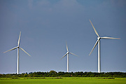 Five wind turbines at Airtricity, Richfield Wind Farm at Kilmore, County Wexford, Southern Ireland