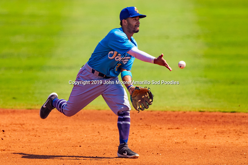 Amarillo Sod Poodles infielder Ivan Castillo (2) flips the ball against the Tulsa Drillers during the Texas League Championship on Sunday, Sept. 15, 2019, at OneOK Field in Tulsa, Oklahoma. [Photo by John Moore/Amarillo Sod Poodles]