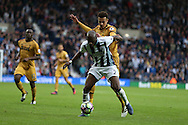 Allan Nyom of West Bromwich Albion holds off Dele Alli of Tottenham Hotspur . Premier league match, West Bromwich Albion v Tottenham Hotspur at the Hawthorns stadium in West Bromwich, Midlands on Saturday 15th October 2016. pic by Andrew Orchard, Andrew Orchard sports photography.