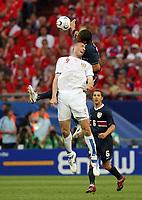 Photo: Chris Ratcliffe.<br /> USA v Czech Republic. Group E, FIFA World Cup 2006. 12/06/2006.<br /> Jan Koller of Czech Republic clashes with Oguchi Onyewu of the USA.