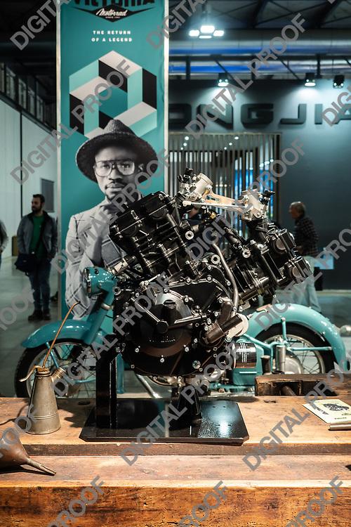 RHO Fieramilano, Milan Italy - November 07, 2019 EICMA Expo. Victoria Motorcycles stand displays an engine at EICMA 2019