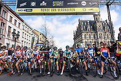 Peloton wait for the start to be given - Women's Ronde van Vlaanderen 2016. A 141km road race starting and finishing in Oudenaarde, Belgium on April 3rd 2016.