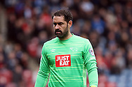 Derby County Goalkeeper Scott Carson looks on. Skybet football league Championship match, Huddersfield Town v Derby county at the John Smith's Stadium in Huddersfield , Yorkshire on Saturday 24th October 2015.<br /> pic by Chris Stading, Andrew Orchard sports photography.