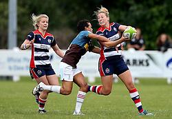 Amber Reed (c) of Bristol Ladies is tackled - Mandatory by-line: Robbie Stephenson/JMP - 18/09/2016 - RUGBY - Cleve RFC - Bristol, England - Bristol Ladies Rugby v Aylesford Bulls Ladies - RFU Women's Premiership