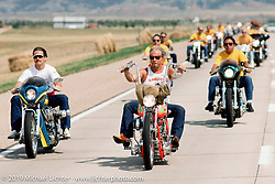 Arlen Ness leads a pack of Hamsters during a ride west on I-90. South Dakota. Photograph ©1990 Michael Lichter