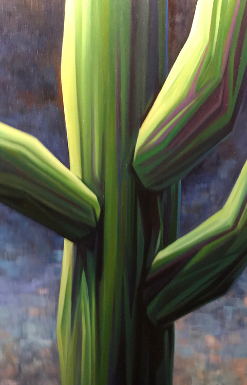 A section of the iconic Sonoran Desert saguaro, lit up against a soft desert evening sky.   24 x 36, oil on canvas.   For more information, please call 480-483-5663