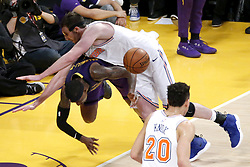January 4, 2019 - Los Angeles, California, U.S - Los Angeles LakersÃ• Kentavious Caldwell-Pope (1) collides with New York Knicks' Luke Kornet (2) during an NBA basketball game between Los Angeles Lakers and New York Knicks on Friday, Jan. 4, 2019, in Los Angeles. (Credit Image: © Ringo Chiu/ZUMA Wire)