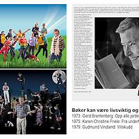 """Postkort laget til utstilling i 2015, en trilogi over viktige og frigjørende bøker: 1973 Gerd Brantenberg """"Opp alle jordens homofile"""", 1975 Kim Friele """"Fra undertrykkelse til opprør"""", 1979 Gudmund Vindland """"Villskudd""""."""