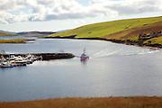 Pink fishing trawler, South Voe, West Burra, Shetland Islands, Scotland