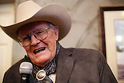 Dayton O. Hyde, 87, shares stories of his life during a special preview of Running Wild, a documentary on the life of wild horse rescuer Dayton O. Hyde, at Big Dog Vineyards in Milpitas, California, on March 8, 2013. (Stan Olszewski/SOSKIphoto)