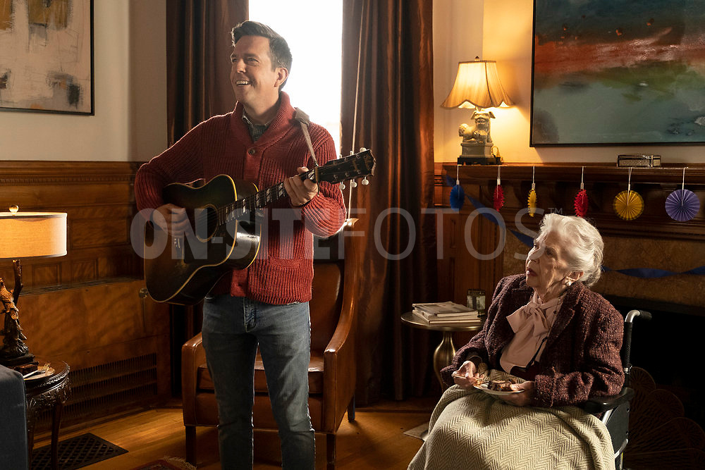 """RUTHERFORD FALLS -- """"Aunt Ida's 90th Birthday"""" Episode 103 -- Pictured: (l-r) Ed Helms as Nathan Rutherford, Helen Slayton-Hughes as Aunt Ida -- (Photo by: Colleen Hayes/Peacock)"""