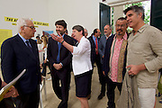 """Venice, Italy - 15th Architecture Biennale 2016, """"Reporting from the Front"""".<br /> Giardini.<br /> German Pavilion. MAKING HEIMAT. Germany, Arrival Country. Opening with German Minister of Construction, Mrs. Barbara Hendricks (white jacket), here with Biennale President Paolo Baratta (l.), Commissioner Peter Cachola Schmal (2nd from r.) and Architecture Biennale 2016 Director Alejandro Aravena (r.)."""