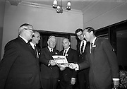 12/11/1964<br /> 11/12/1964<br /> 12 November 1964<br /> <br /> Mr. A.H. Masser, Managing Director Messrs A.H. Masser Ltd.; Mr. P.M. McGloughlin, J.&C. McGloughlin Ltd., Sir Hugh Monony consulting engineer; Mr. W.H.P Cobbe, A.H. Masser Ltd; Mr K.A. Masser Director Messrs A.H. Masser Ltd and Mr. John Strafford, Sales Manager Polypenco of Herts England chatting prior to the film show