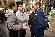 "Aitor Olaizola, Mikel Arretxe and Igor Lorente speak with Paul Ríos, Lokarri spokesman (a citizen network that works in the Basque Country to promote peace, dialogue and reconciliation). Aitor, Mikel and Igor are 3 of the 8 young persons who have been sentenced to six years in jail. They have been sentenced for having been members of the Basque pro-independence youth organization SEGI ('Keep on' in basque language). Donostia-San Sebastian (Basque Country) April, 16th 2013. As an arrest warrant was issued against them and they could be arrested any time, young supporters gathered them to prevent them from being arrested. The sentence stated: ""Membership to terrorist organization"". (Gari Garaialde/Bostok Photo)"