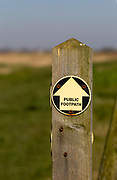 Close up public footpath sign on wooden post, Bawdsey, Suffolk, England, UK