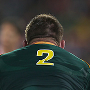 John Smit, South Africa, in action during the Wales V South Africa, Pool D match during the Rugby World Cup in Wellington, New Zealand,. 11th September 2011. Photo Tim Clayton