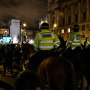 London, UK. 31th January 2020, Police on horseback security of Hundreds attend the Brexit Countdown, Westminster, London, UK.