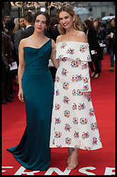 April 9, 2018 - London, London, United Kingdom - Image licensed to i-Images Picture Agency. 09/04/2018. London, United Kingdom. Lily James and Jessica Brown Findlay arriving at The Guernsey Literary and Potato Peel Pie Society premiere in London. (Credit Image: © Stephen Lock/i-Images via ZUMA Press)