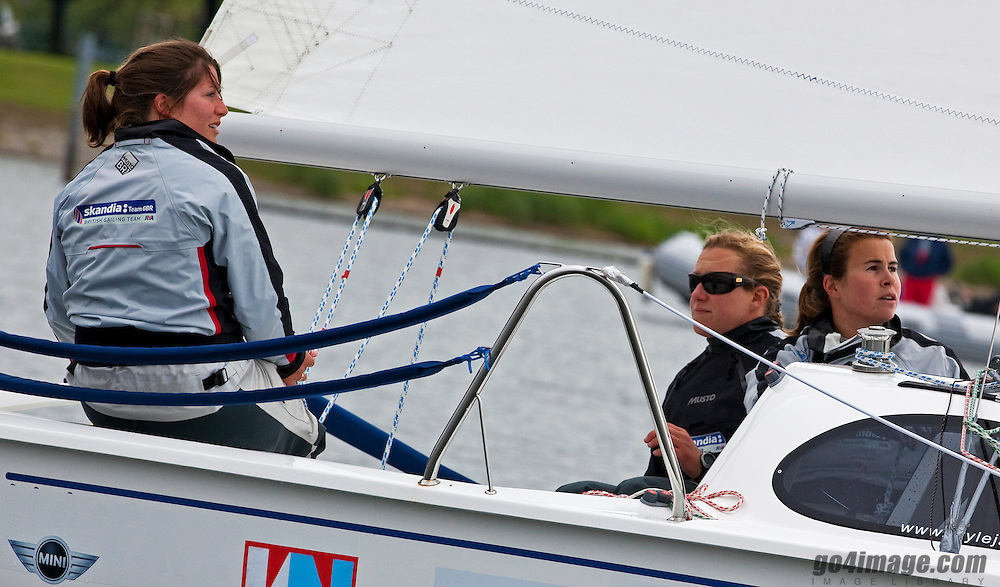 GBR, Lucy Macgregor, Annie Lush, Ally Martin;<br /> Quarter Finals<br /> 2010 EUROSAF European Match Race Championship