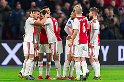 13-03-2019 NED: Ajax - PEC Zwolle, Amsterdam<br /> Ajax has booked an oppressive victory over PEC Zwolle without entertaining the public 2-1 / (L-R) Dusan Tadic #10 of Ajax, Noussair Mazraoui #12 of Ajax, Daley Blind #17 of Ajax, Zakaria Labyad #19 of Ajax, Donny van de Beek #6 of Ajax, Lasse Schone #20 of Ajax