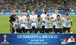 2017?6?30?.   ????????——??????????????.    6?29????????????????.    ????????????2017?????????????????4?1????????????.    ?????????..(SP)RUSSIA-SOCHI-2017 FIFA CONFEDERATIONS CUP-GER VS MEX.(170630) -- SOCHI, June 30, 2017  Starting players pose for a photo prior to the semifinal match between Germany and Mexico of the 2017 FIFA Confederations Cup in Sochi, Russia, on June 29, 2017. Germany won 4-1.  7 9854294892 (Credit Image: © Xu Zijian/Xinhua via ZUMA Wire)