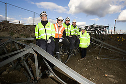 Olympic Park. Portrait of team of workers employed to fell PKD chain EDF pylons. The pylons' legs are severed at points around their bases. The pylons are then pulled over by cables attached to a tractor. Picture taken on 22 Oct 2008 by David Poultney.