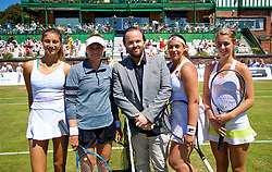 LIVERPOOL, ENGLAND - Sunday, June 24, 2018: Corinna Dentoni (ITA), Vera Zvonareva (RUS) Radio City DJ Simon Greening Marion Bartolli (FRA) and Ellie Tsimbilakis (GBR) during day four of the Williams BMW Liverpool International Tennis Tournament 2018 at Aigburth Cricket Club. (Pic by Paul Greenwood/Propaganda)