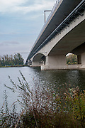 A bridge over the Danube River near Krems, Austria. As seen from bellow
