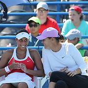 Madison Keys, (left), USA, with coach Lindsay Davenport during her victory over Elina Svitolina, Ukraine, in the first round of the Connecticut Open at the Connecticut Tennis Center at Yale, New Haven, Connecticut, USA. 24th August 2015. Photo Tim Clayton