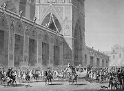 Coronation of Napoleon I, 2 December 1804. Arrival of the Emperor's coach at Notre Dame, Paris. Engraving.