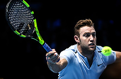 2017?11?14?.    ?????1???——ATP?????????????.       11?14?????????.       ???????????ATP??????????????????????????2?1????????????.       ???????????????.(SP) BRITAIN-LONDON-TENNIS-ATP FINALS-SOCK VS CILIC.(171114) -- LONDON, Nov. 14, 2017  Jack Sock of The United States competes during the singles round-robin match against Marin Cilic of Croatia during the Nitto ATP World Tour Finals at O2 Arena in London, Britain on Nov. 14, 2017. Jack Sock won 2-1. (Credit Image: © Tang Shi/Xinhua via ZUMA Wire)
