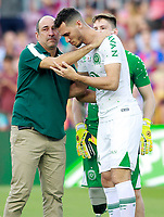 Chapecoense's coach Vinicius Eutropio with the surviving players of the air crash Jackson Follmann (b) and Helio Zampier Neto before Joan Gamper Trophy. August 7,2017. (ALTERPHOTOS/Acero)
