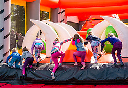 Pictured: (L to R) Callum, Lacey, Emily, Naimh, Emily & Ingrid are among the first to try the Labyrinth Inflatable Course. Dalkeith Country Park, Midlothian, 04 May 2019. The Labyrinth Challenge is the World's longest, continuous, widest inflatable obstacle course with a series of interactive and wacky obstacles with five  themed zone, and measures over 1000ft in length.<br /> Sally Anderson | EdinburghElitemedia.co.uk