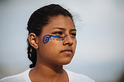 SAN MARTIN DE LAS PIRAMIDES, MEXICO - APRIL 15, 2017: Kelly Garcia, player of Veracruz's team watches a match during a tourney of Mesoamerican Ball Game titled Ulamaztli. A player prepares himself to receive and hit a rubber ball during a tourney of Mesoamerican Ball Game titled Ulamaztli. To withstand the blow of the ball, that weighs 7 pounds, the players protect their hips with bandages and leather belts. Each team has 5 players and the game purpose is to keep the ball inside the play area without touch it with hands or another part of the body, except the hips. Rodrigo Cruz for The New York Times