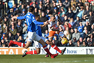 Blackpool Forward, Kyle Vassell (7) with a shot at goal during the EFL Sky Bet League 1 match between Portsmouth and Blackpool at Fratton Park, Portsmouth, England on 24 February 2018. Picture by Adam Rivers.