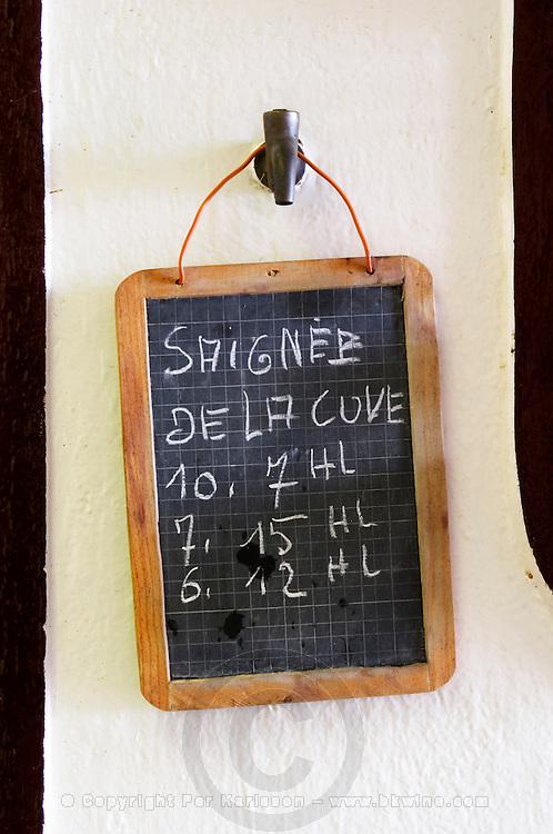 Chalk board sign saying vat bleeding, saignee. Chateau la Grace Dieu les Menuts, Saint Emilion, Bordeaux, France