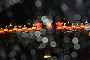 CNE (Canadian National Exhibition) during a night with rainfall. Toronto, Canada.