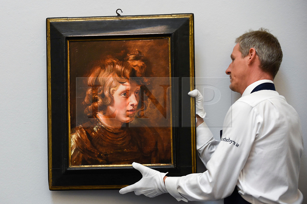 """© Licensed to London News Pictures. 28/06/2019. LONDON, UK. A technician hangs """"Head of a Young Warrior"""", 1615-17, by Peter Paul Reubens (Est. GBP2.5-3.5m) at the preview of Sotheby's Old Masters sale which takes place at its New Bond Street galleries on 3 July.  Photo credit: Stephen Chung/LNP"""