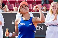 Misaki Doi during the 2019 Swedish Open in Båstad on July 13, 2019. Photo Credit: Katja Boll/EVENTMEDIA.